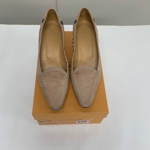 Tod's Suede Tan Pumps